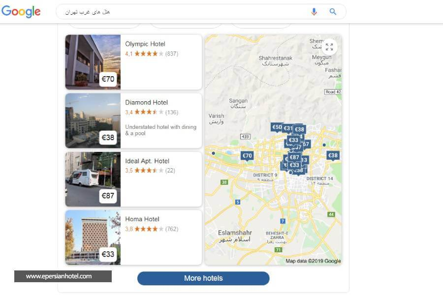 هتل های غرب تهران